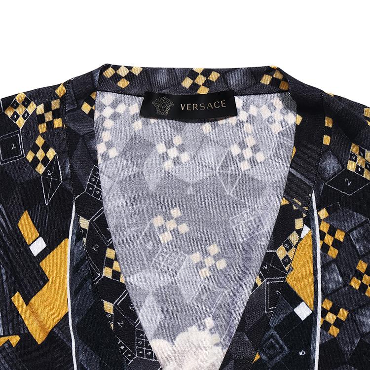 【17年春夏新品】versace/范思哲男士黑金v领长袖针织衫