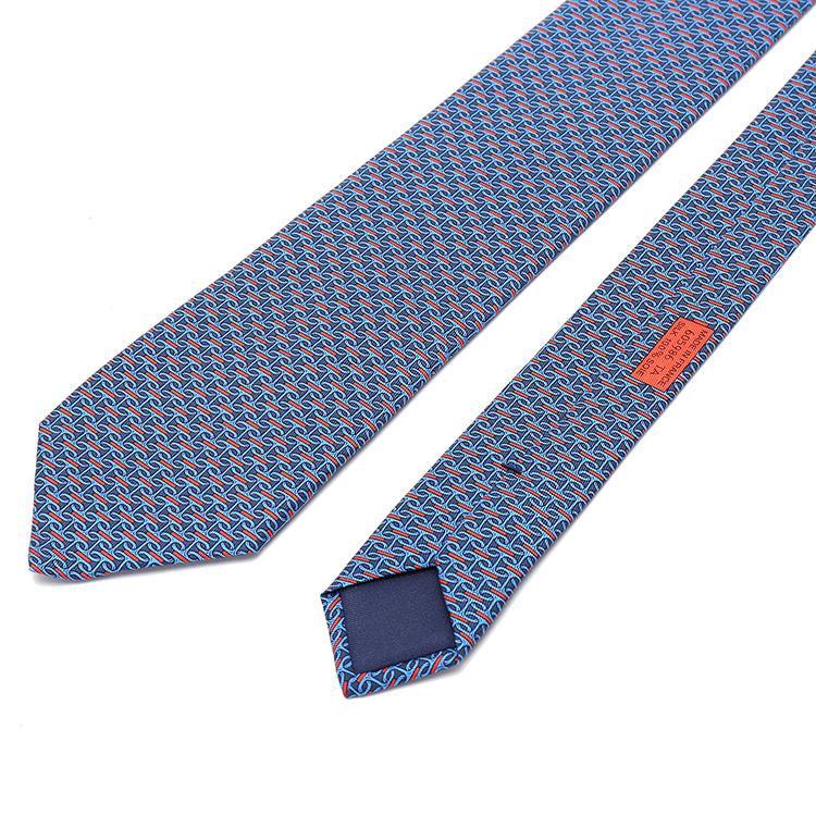 hermes(爱马仕) 蓝色红色花纹领带