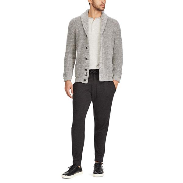 ralph lauren/拉夫勞倫 男士披肩式領子純棉長袖針織開衫 灰色圖片