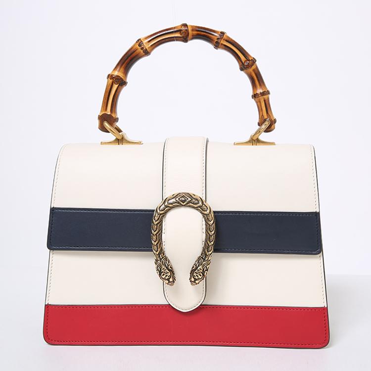 gucci(古驰) 白色皮质红/藏蓝色条纹竹节两用包