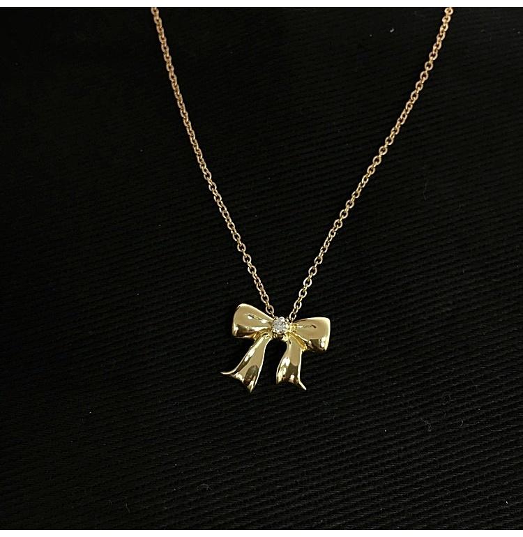 Tiffany Co. 蒂芙尼 18K金蝴蝶结形单钻吊坠项链