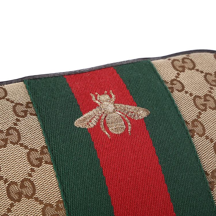 gucci(古驰) 蜜蜂刺绣卡其色帆布配皮斜挎包