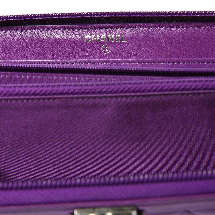 chanel(香奈儿) 紫色皮质长款拉链钱夹boy