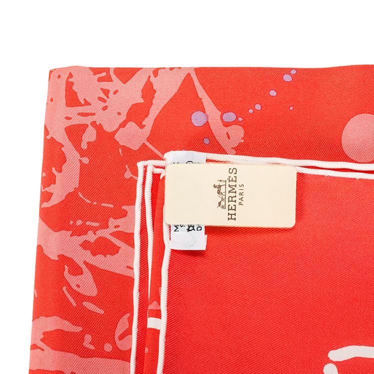 hermes(爱马仕) 红色泼墨风格丝巾 90