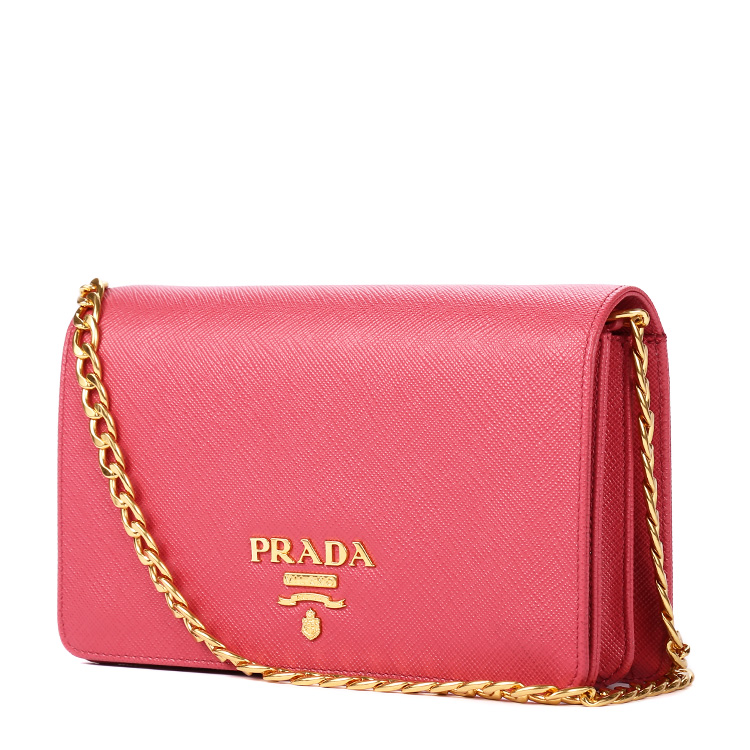 prada(普拉达) 桃粉色皮质链条包