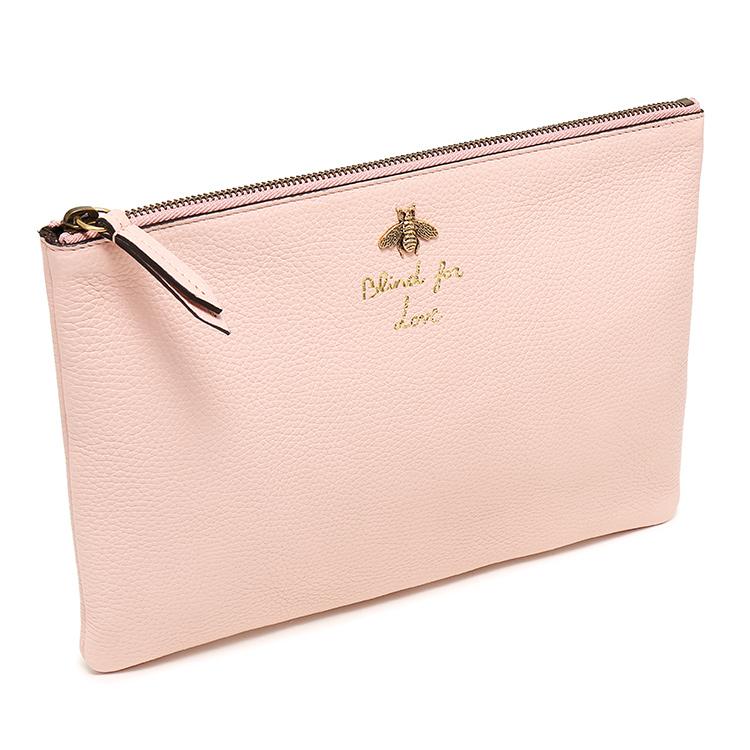 gucci(古驰)#浅仓鼠女士蜜蜂标东西手拿包皮质怎么储藏粉色图片