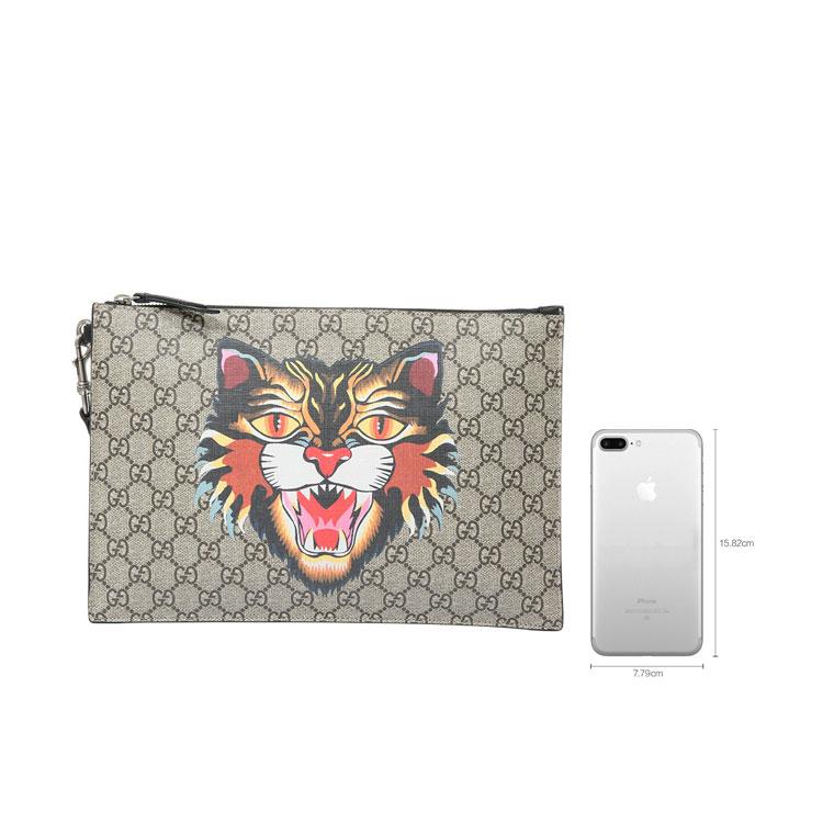 gucci(古驰) 乌木色pvc猫头图案手拿包