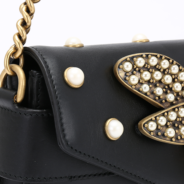 gucci(古驰)#蜜蜂公司皮质仿珍珠打开单肩包v蜜蜂黑色绿蜗牛怎么装饰图片