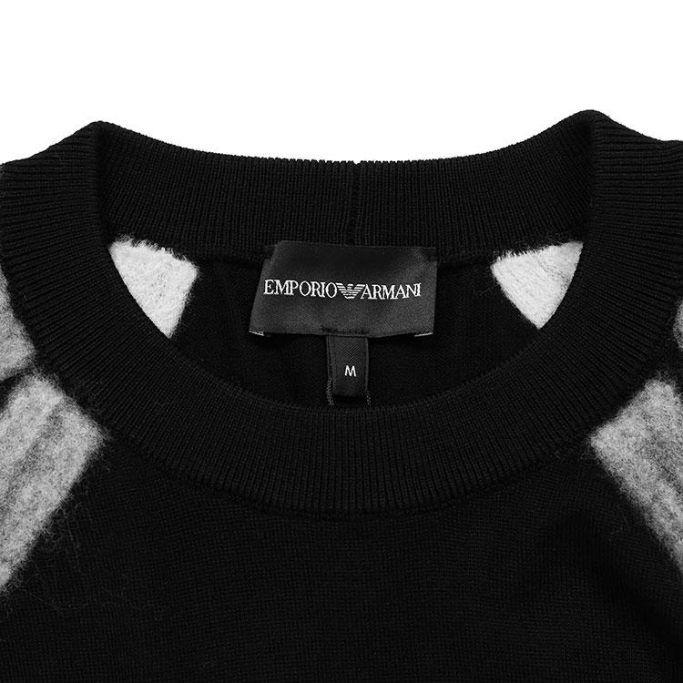 Emporio Armani/安普里奥阿玛尼 黑色 男士初剪羊毛拼接条纹针织衫 6G1MV5-1M05Z-0999 19年秋冬