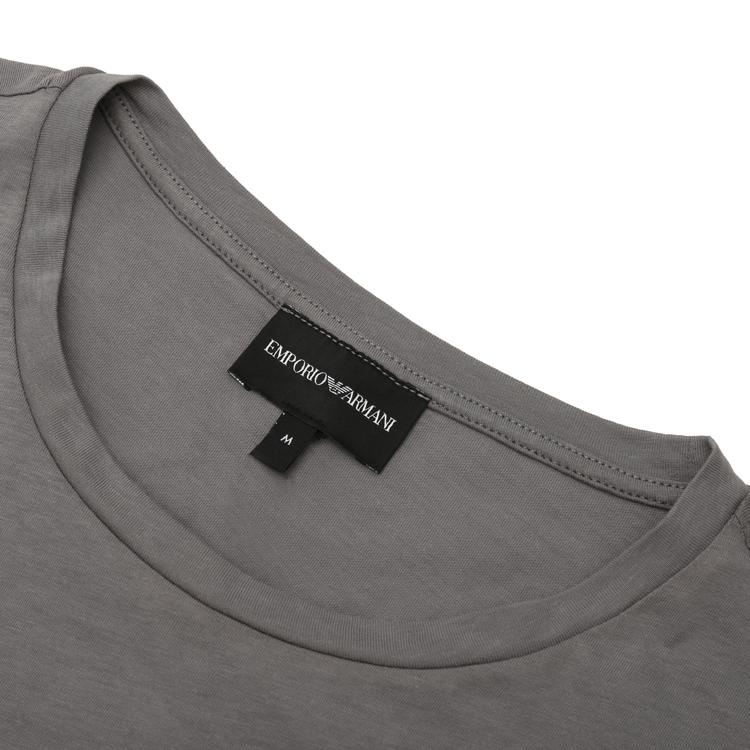 Emporio Armani/安普里奥阿玛尼 米灰色 男士胸前水墨晕染图案装饰圆领短袖T恤 3H1T6S-1JQ4Z-0606 2020年春夏