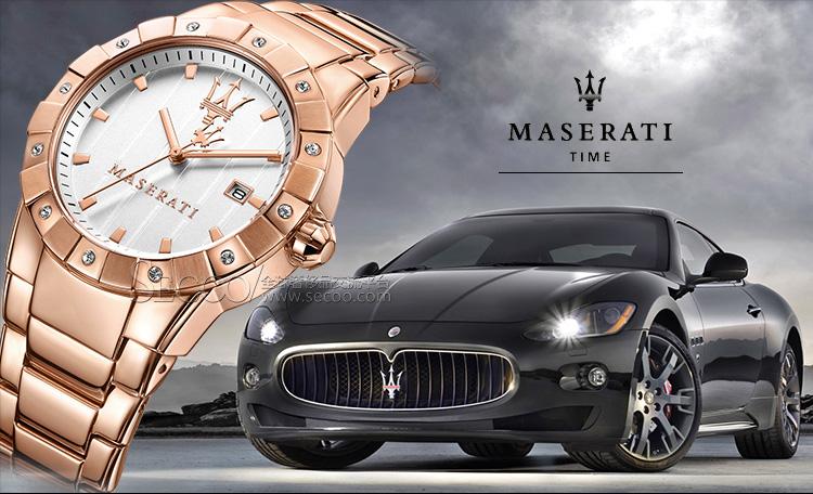 maserati/玛莎拉蒂 奢华全pvd玫瑰金女士石英腕表r8853103503