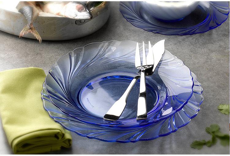 进口钢化玻璃盘子欧式家用餐盘