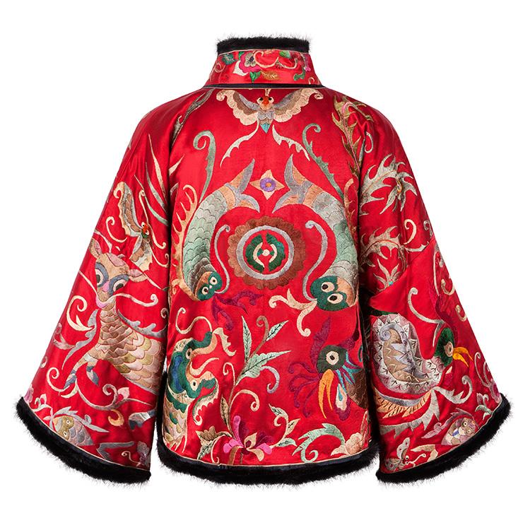 花鸟福鱼 苗绣手工刺绣貂毛装饰里衬如意纹织锦缎 棉衣 棉袄 女士外套