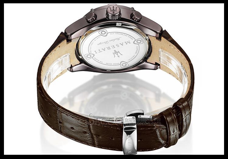 玛莎拉蒂maserati时尚三眼多功能计时男士石英腕表r8871611001
