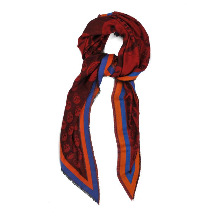暗红色骷髅图案三角围巾