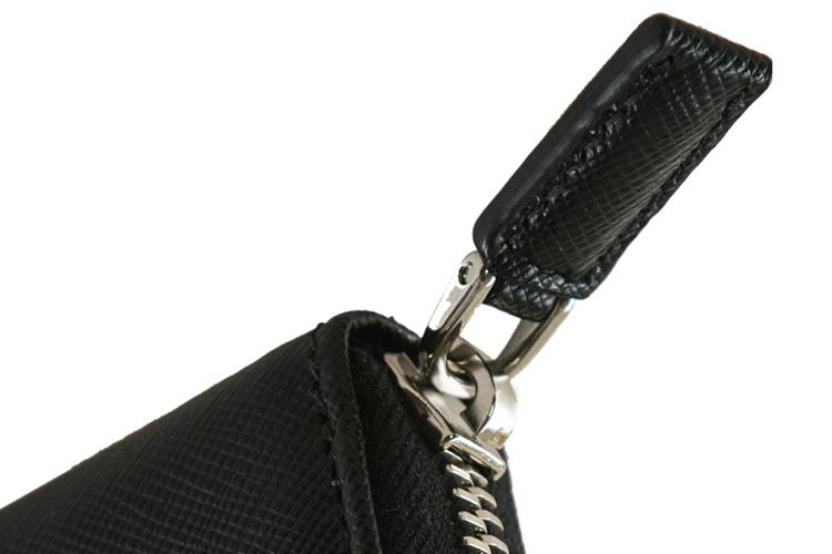 prada/普拉达 黑色真皮蛇皮纹男士钱包手拿包2m1317053