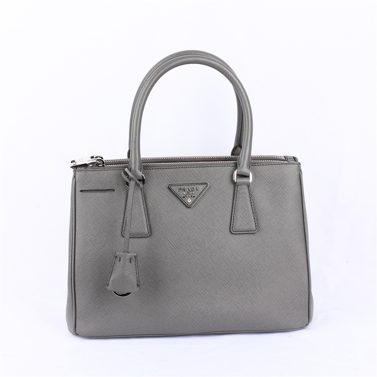prada/普拉达 灰色牛皮手提包