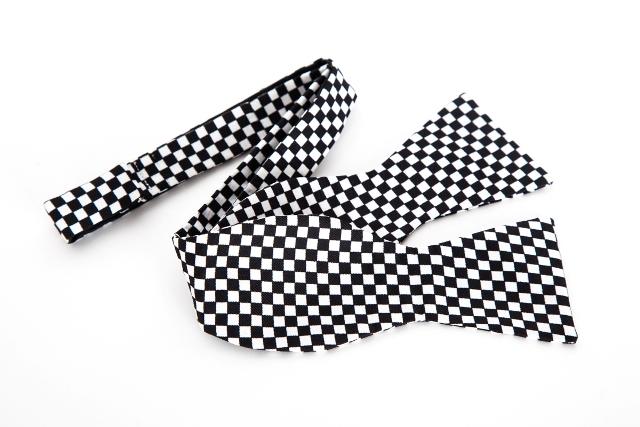 摩根汽车精品 黑白格赛车旗主题领结