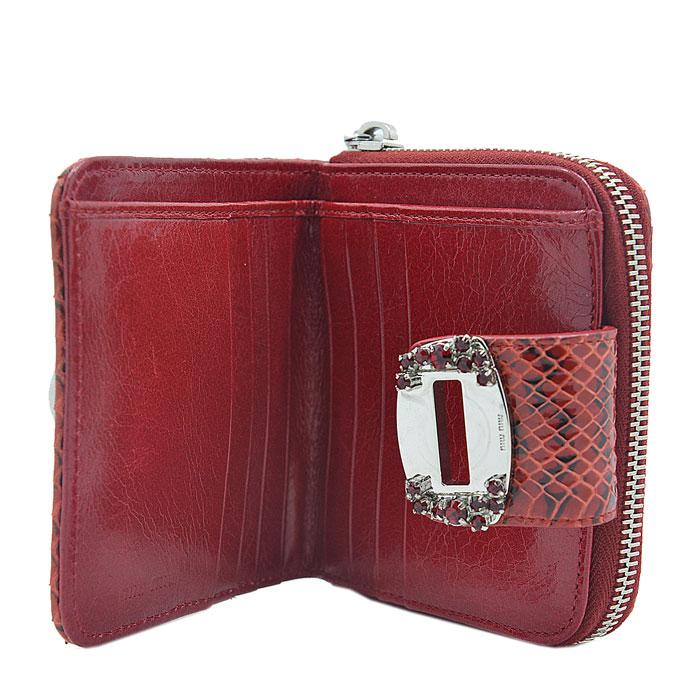 miumiu/缪缪 女士红色蛇皮短款钱包 零钱包