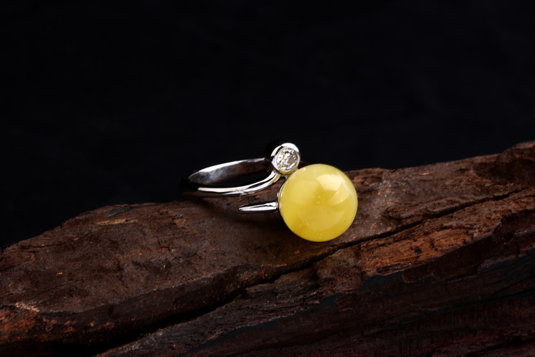 一脉相承925银镶嵌老蜜圆珠简约款蜜蜡圆珠戒指
