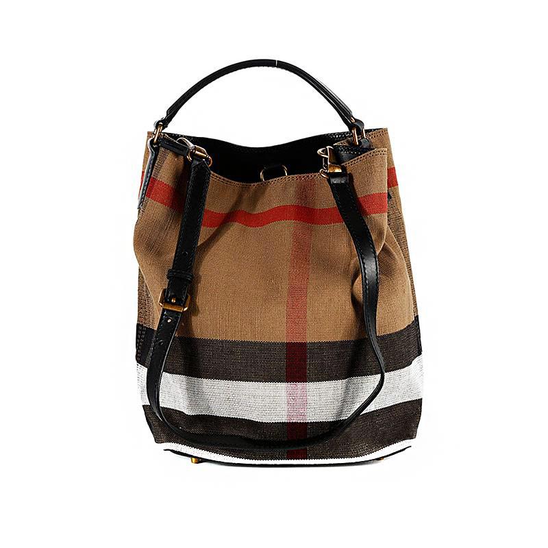 女士棕色棉麻混纺经典格纹手提包