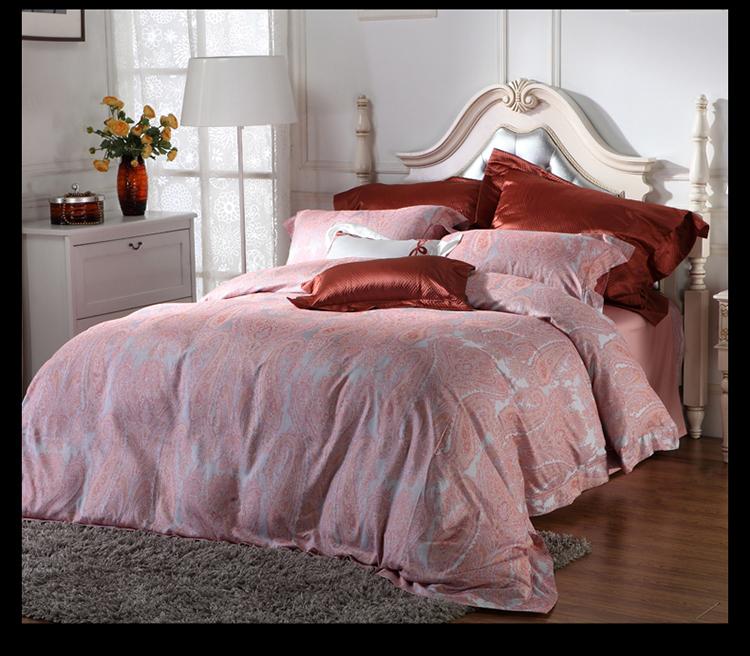 罗卡芙家纺 床上用品 粉色调撞色 复古时尚全棉四件套 伊芙特