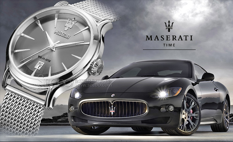 玛莎拉蒂maserati时尚简约灰色盘面石英男士腕表r