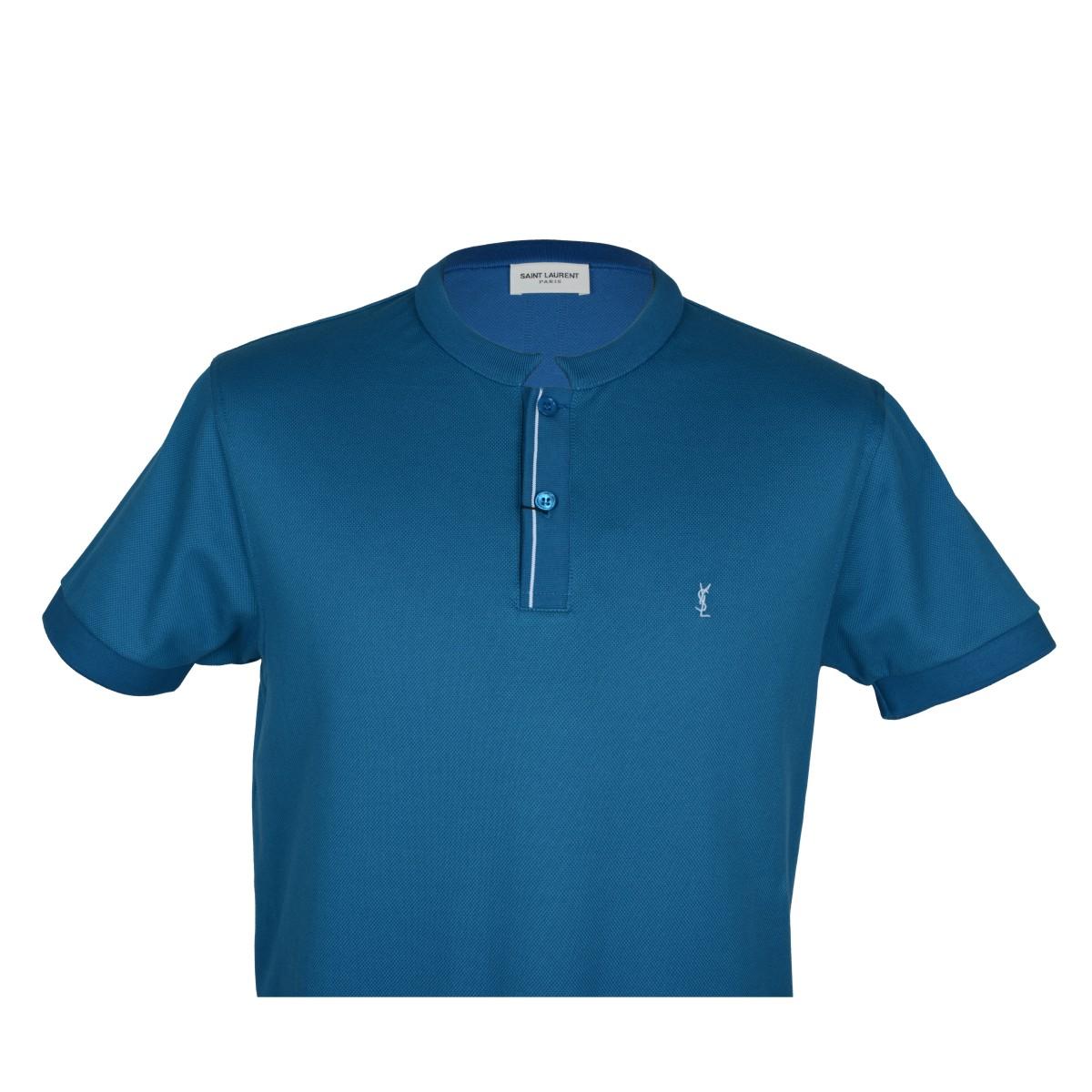 saint laurent/圣罗兰 男士polo 蓝色全棉圆领两粒扣前襟短袖男士t恤