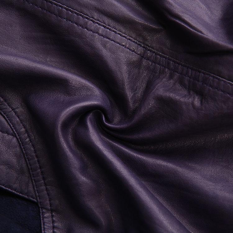 diesel/迪 赛女士外套-女士紫色皮衣 材质:羊皮