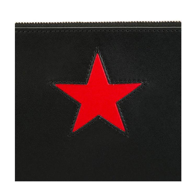 givenchy/纪梵希 新款红色星星贴花小牛皮中性款式黑色拉链大号手拿包