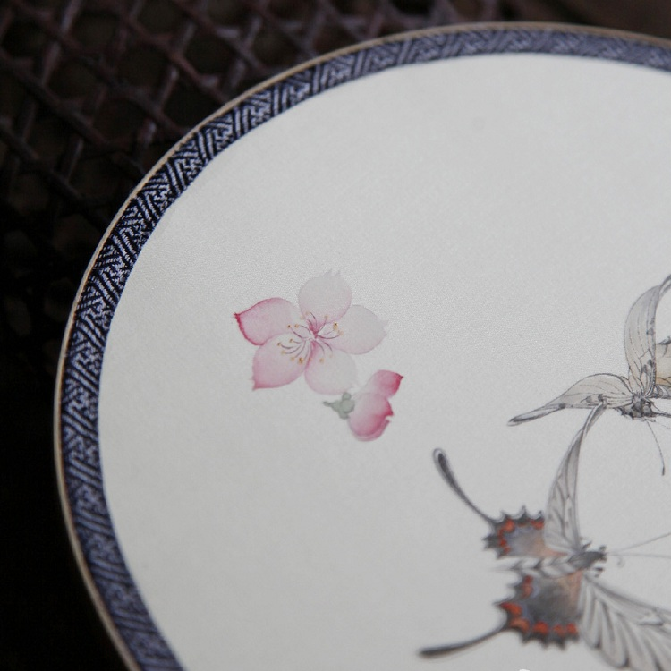 lijing/李晶 手绘蝶戏落花图团扇