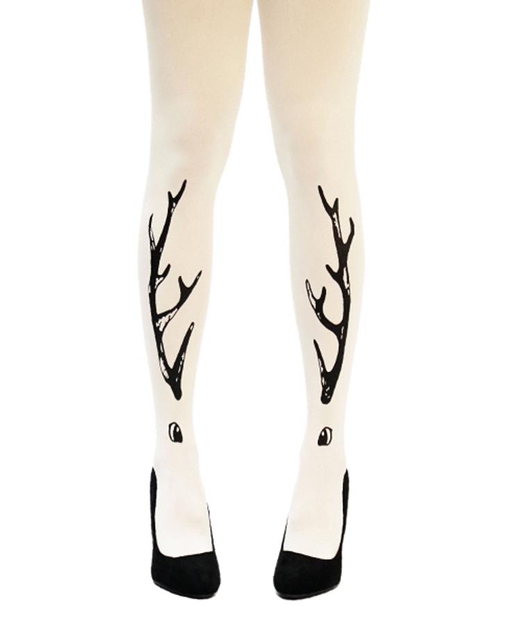 unipop miss deer系列奶油白底鹿角图案丝袜 b1501503c