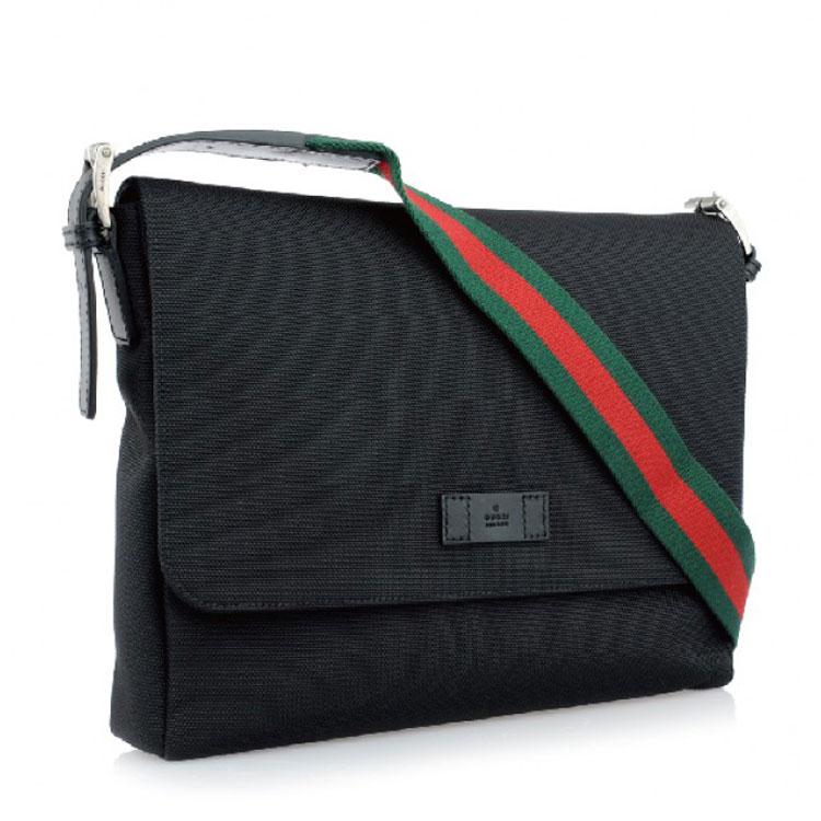【包邮包税】gucci/古驰 黑色男士帆布单肩包图片