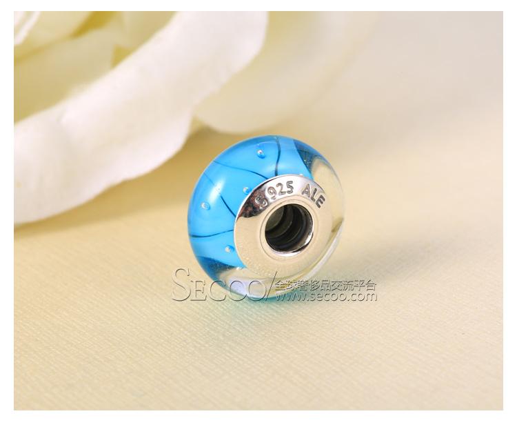 pandora/潘多拉 浅蓝色花瓣气泡琉璃珠790924