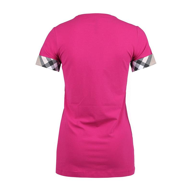 女士袖口格纹设计短袖t恤