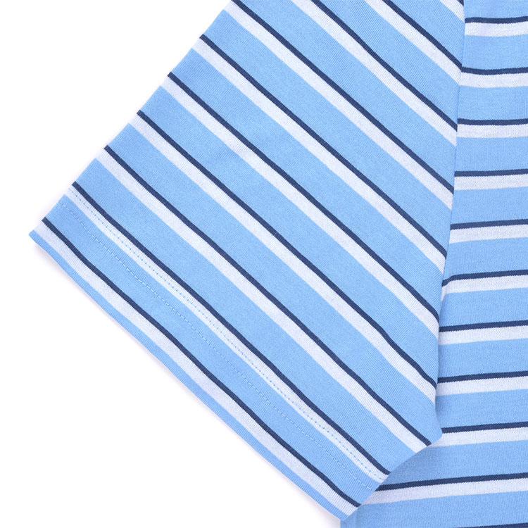 lacoste/鳄鱼 男士浅蓝色条纹圆领纯棉短袖t恤