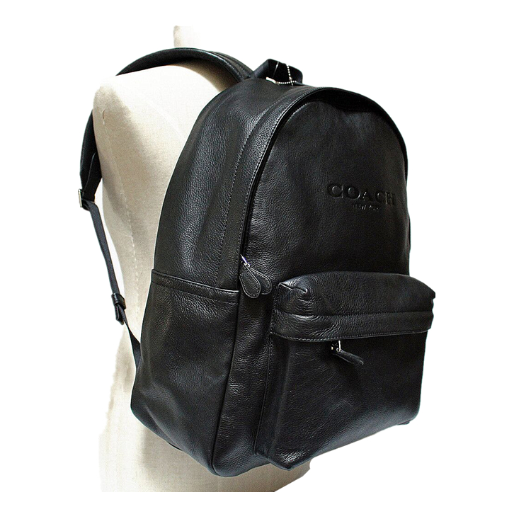 coach/蔻驰 男士黑色真皮皮革荔枝纹双肩包背包 f72120 blk