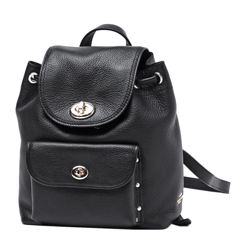 coach/蔻驰 女士粒面皮革迷你旋锁双肩包backpacks 37581 black图片