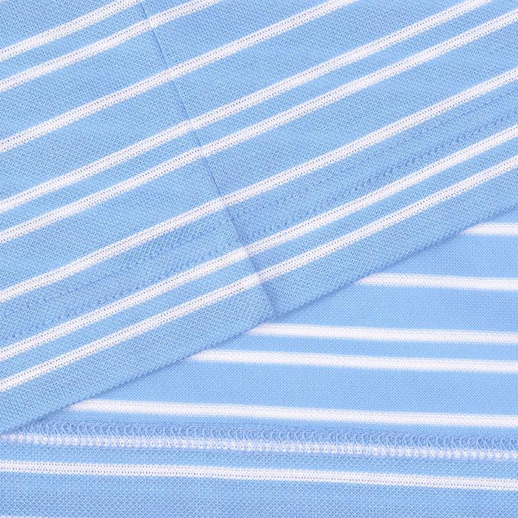 lacoste/鳄鱼 男士浅蓝色条纹翻领纯棉短袖polo衫