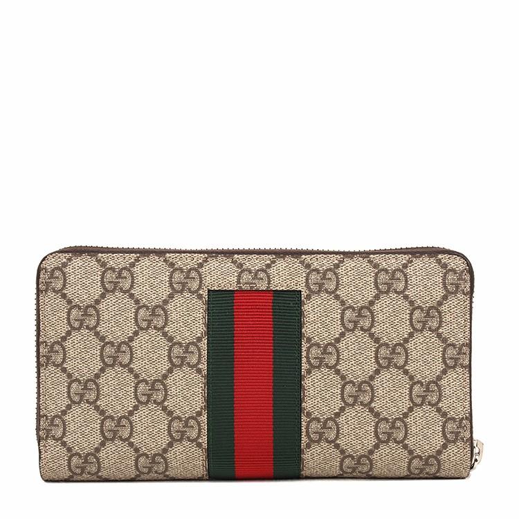 GUCCI 古驰 女士咖啡色logo装饰蜜蜂刺绣长款钱包