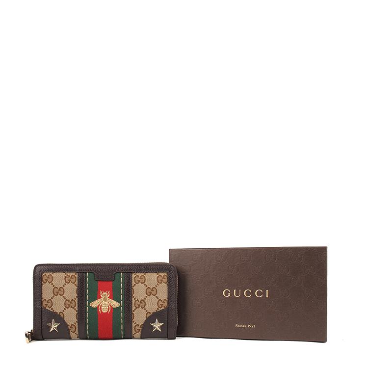 GUCCI 古驰 女士咖啡色蜜蜂刺绣长款钱包