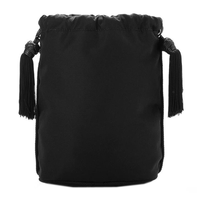 女士黑色尼龙流苏抽带水桶包款手提包