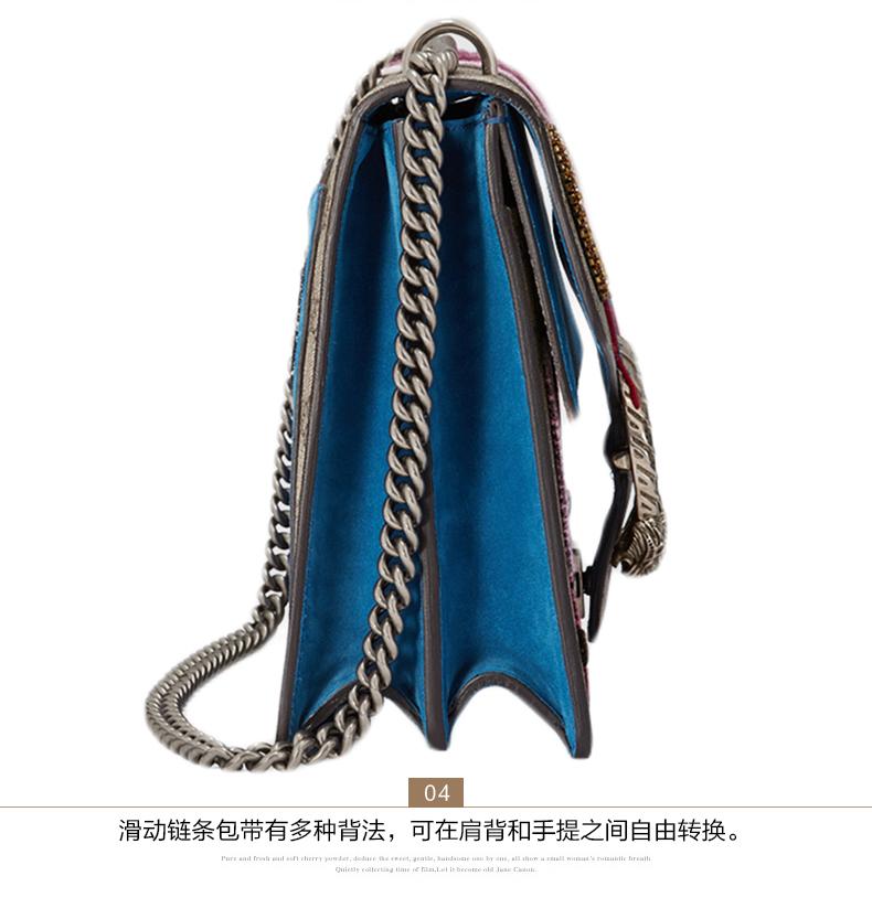gucci/古驰 女士人造革虎头织纹中号链条单肩包 403348 k2lln 8561图片