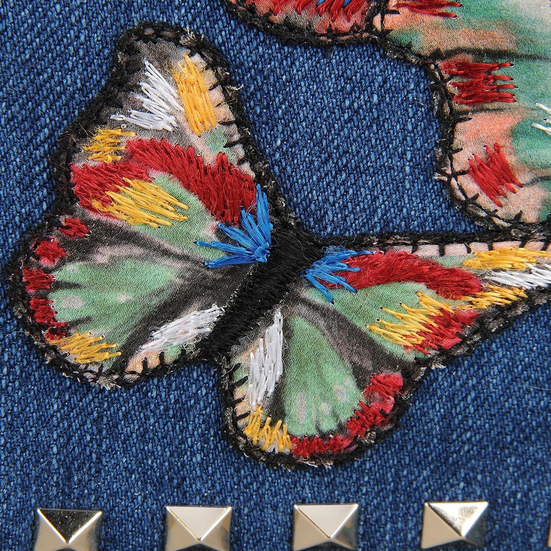 Valentino 华伦天奴 女士蓝色牛仔布蝴蝶刺绣单肩包 LW2B0809DRB
