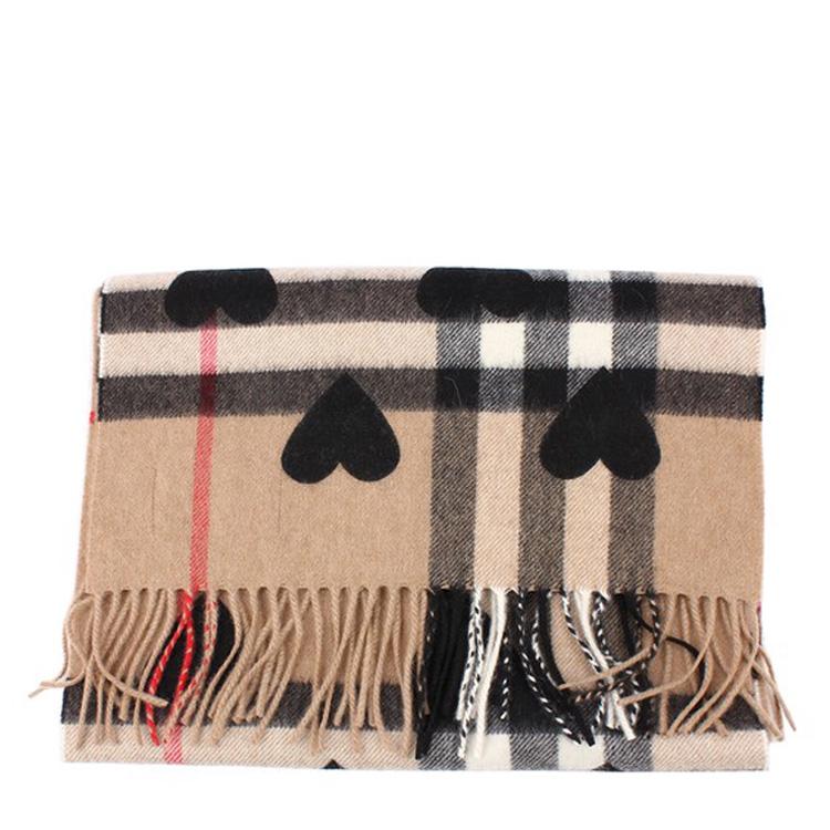burberry/博柏利 心形图案 经典格纹羊绒 中性围巾#3993748图片