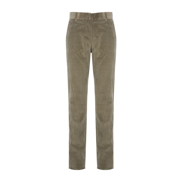 maxmara/麦丝玛拉女士军绿色98%棉2%氨纶女士裤子直筒裤
