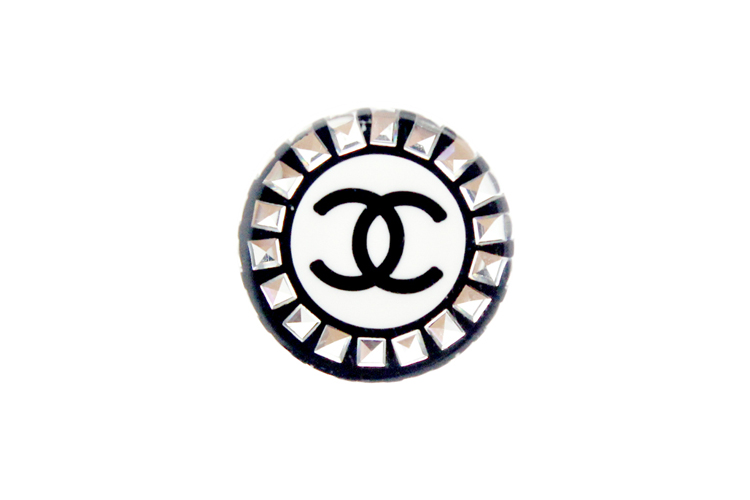 chanel/香奈儿 女士圆形复古风水晶款logo双c耳钉