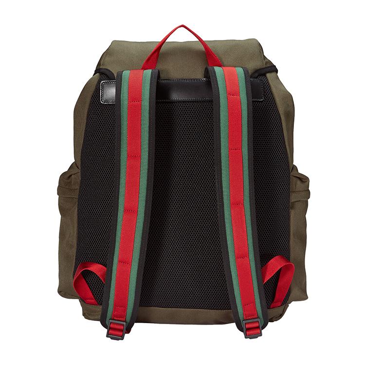 gucci/古驰 techpack真皮logo标签装饰虎头细节设计棕色男士高科技图片