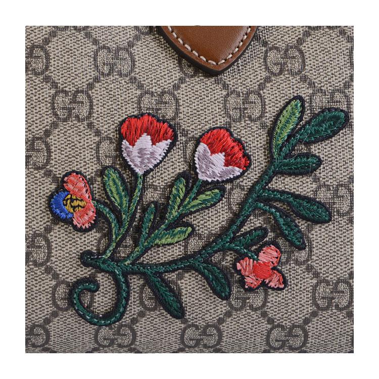 gucci/古驰 花朵刺绣图案设计棕色pvc/配皮女士两用手提包