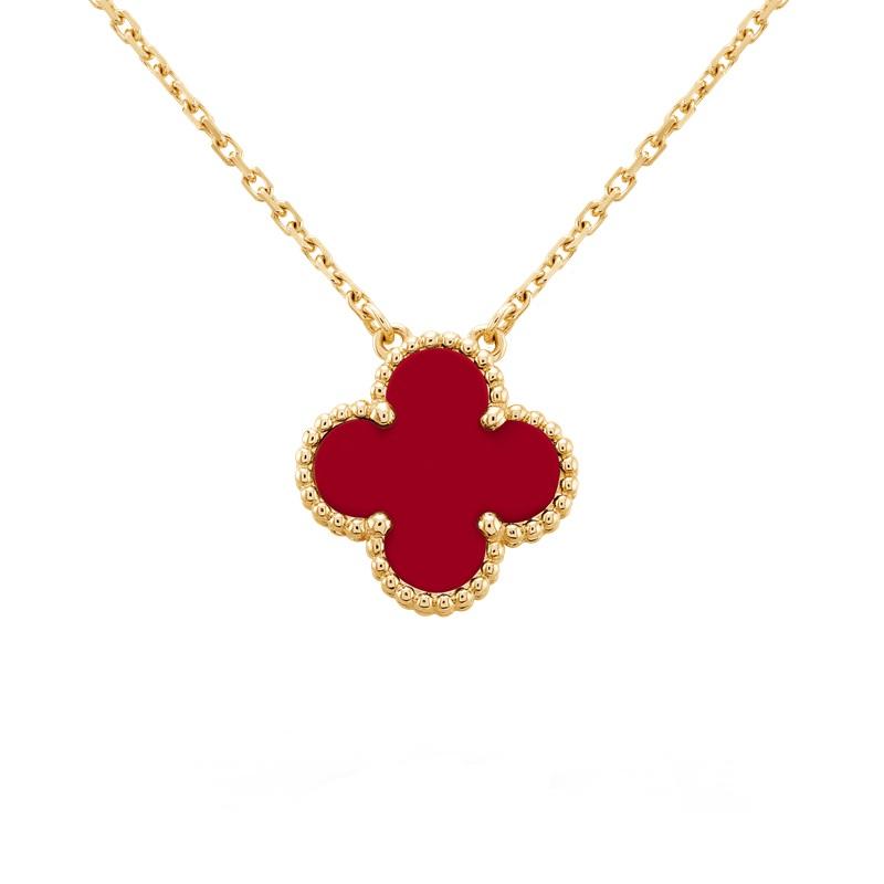【包税】Van Cleef & Arpels/梵克雅宝 经典款Alhambra复古红色红玉髓四叶草项链 VCARD38500
